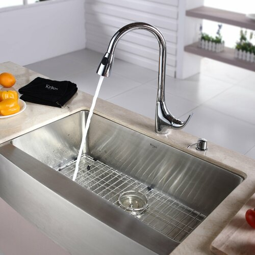"Kraus 32.88"" x 20.75"" Farmhouse Single Bowl Kitchen Sink with Faucet and Soap Dispenser"
