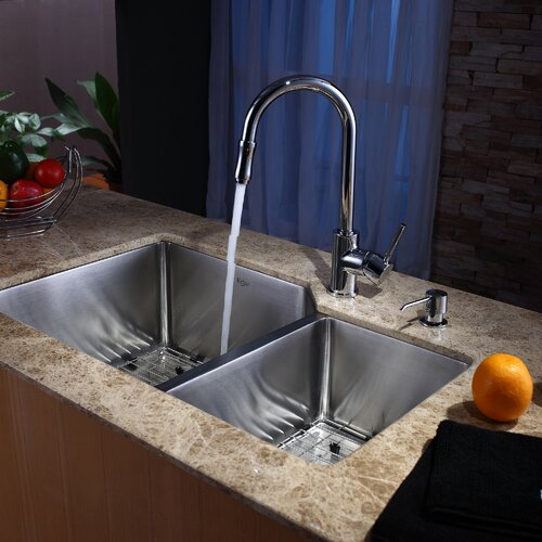 "Kraus 32"" x 20"" Undermount 70/30 Kitchen Sink with Faucet and Soap Dispenser"
