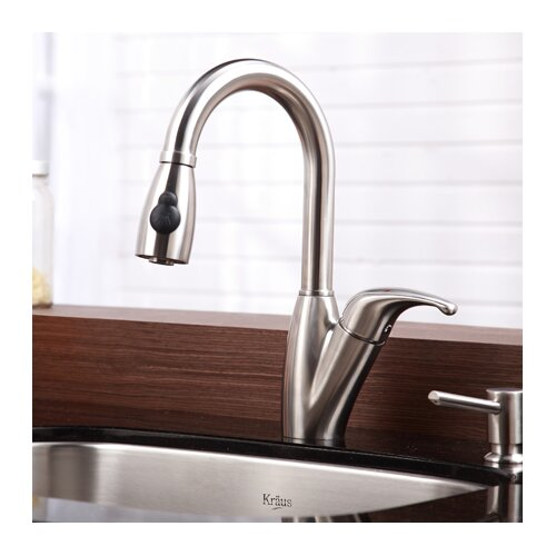 One Handle Single Hole Kitchen Faucet with Pull Out Sprayer