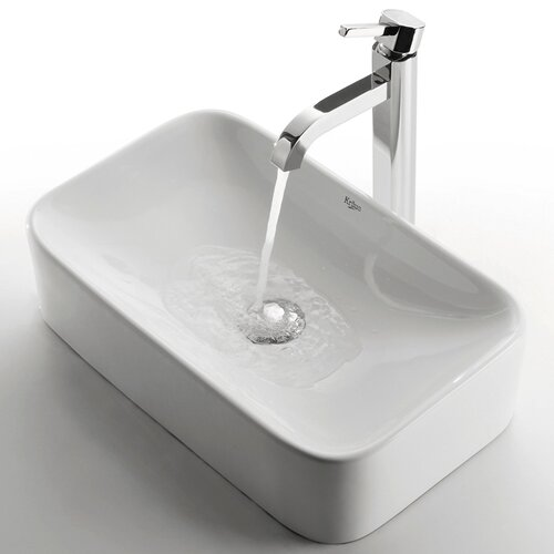 Kraus Ceramic Rectangular Bathroom Sink with Ramus Single Lever Faucet
