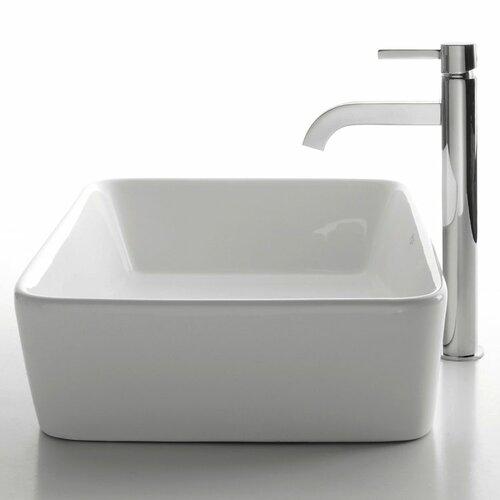 Ceramic Rectangular Bathroom Sink and Ramus Single Lever Faucet