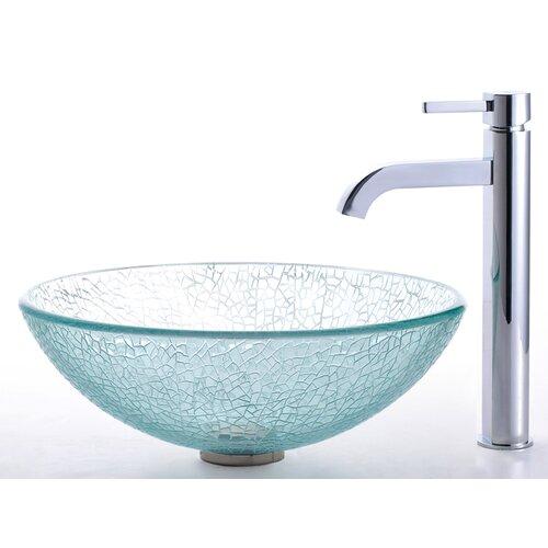 Kraus Broken Glass Vessel Sink and Ramus Faucet