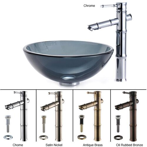 Kraus Small Clear Glass Bathroom Sink and Sheven Faucet