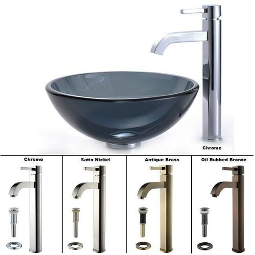 Kraus Small Clear Glass Bathroom Sink and Sheven Faucet & Reviews ...