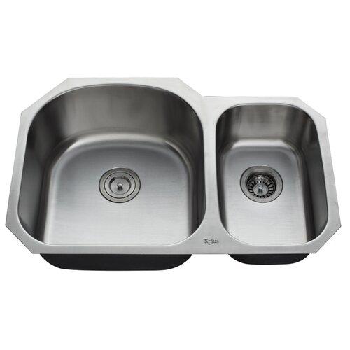 kraus 32 quot x 20 5 undermount bowl 60 40 kitchen sink