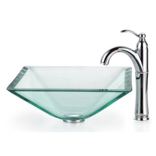 Square Glass Vessel Sink : Kraus Square Aquamarine Glass Vessel Bathroom Sink with Rivera Faucet