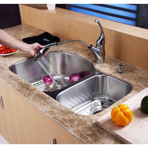 """Kraus 31.5"""" x 20.5 Undermount Double Bowl 60/40 Kitchen Sink"""
