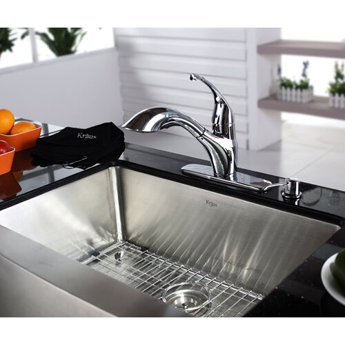 Kraus Single Handle Single Hole Kitchen Faucet with Pull-Out Spray