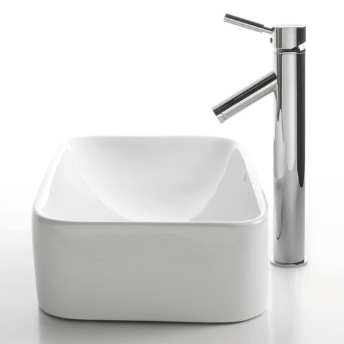 Ceramic Rectangular Bathroom Sink with Sheven Faucet