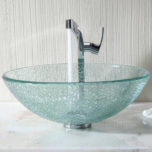 Kraus Bathroom Combos Broken Glass Vessel Bathroom Sink with Single Handle Single Hole Faucet