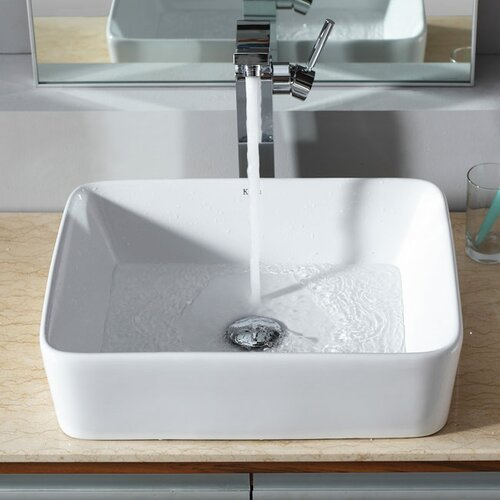 Kraus Bathroom Combos Rectangular Ceramic Bathroom Sink with Single Handle Single Hole Faucet