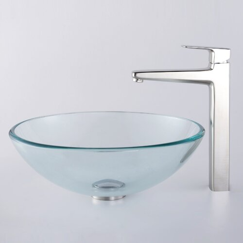Kraus Decorum Glass Vessel Bathroom Sink with Aldo Faucet