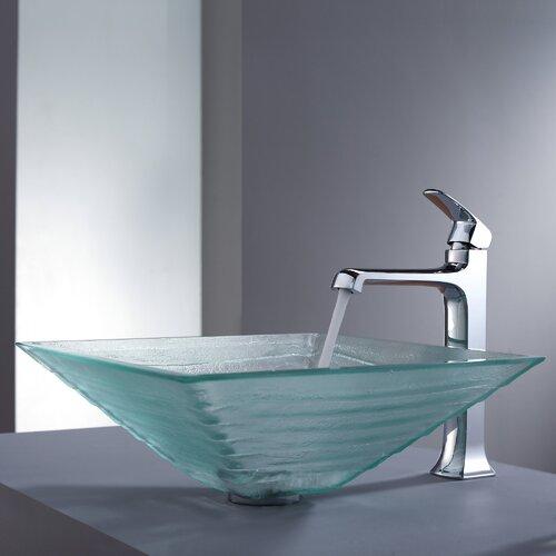 Kraus Decorum Alexandrite Glass Vessel Bathroom Sink and Faucet