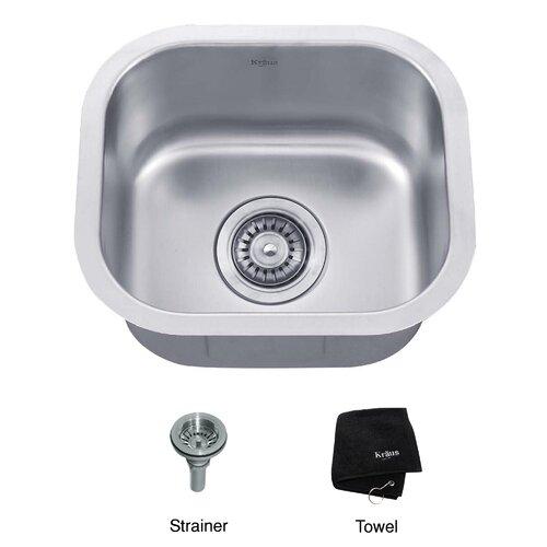 """Kraus 14.5"""" x 13"""" Undermount Single Bowl Kitchen Sink"""