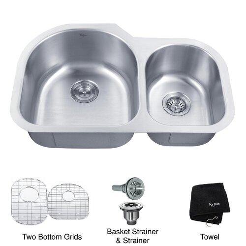 """Kraus 31.5"""" x 20"""" 6 Piece Undermount 60/40 Double Bowl Kitchen Sink"""