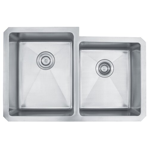 "Kraus 31.25"" x 20.5""  Undermount 50/50 Double Bowl Kitchen Sink"