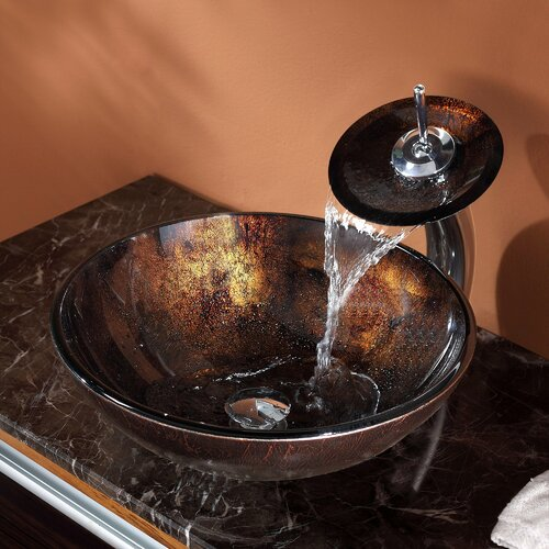 Kraus Pluto Vessel Bathroom Sink with Waterfall Faucet & Reviews ...