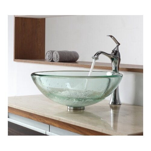 Clear Thick Glass Vessel Sink and Single Hole Faucet with Single Handle