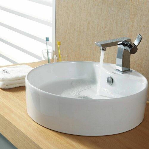Kraus Bathroom Combos Bathroom Sink with Single Handle Single Hole Sonus Faucet