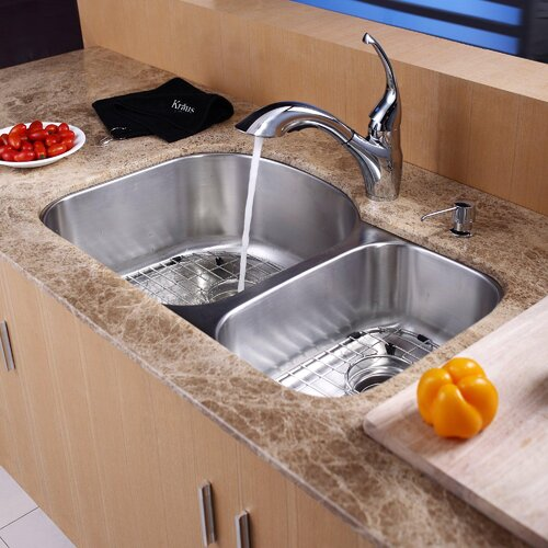 Kraus 8 Piece Undermount Double Bowl Kitchen Sink Set