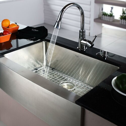 """Kraus 29.75"""" x 20.75"""" Farmhouse Kitchen Sink with Faucet and Soap Dispenser"""