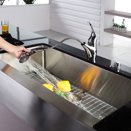 """Kraus 30"""" x 16"""" Farmhouse Kitchen Sink with Faucet and Soap Dispenser"""