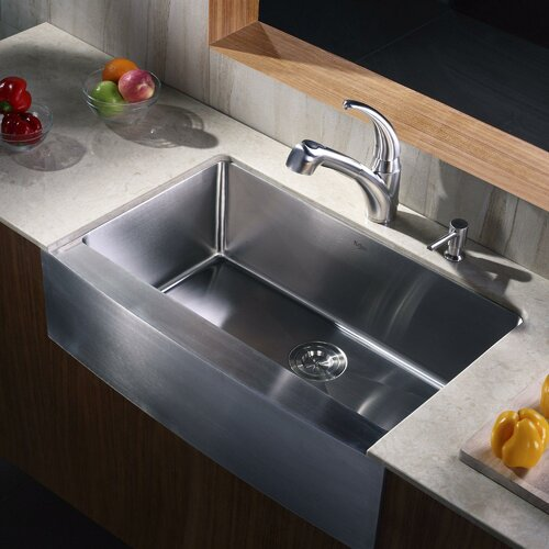 Kraus Farmhouse Kitchen Sink with Faucet and Soap Dispenser