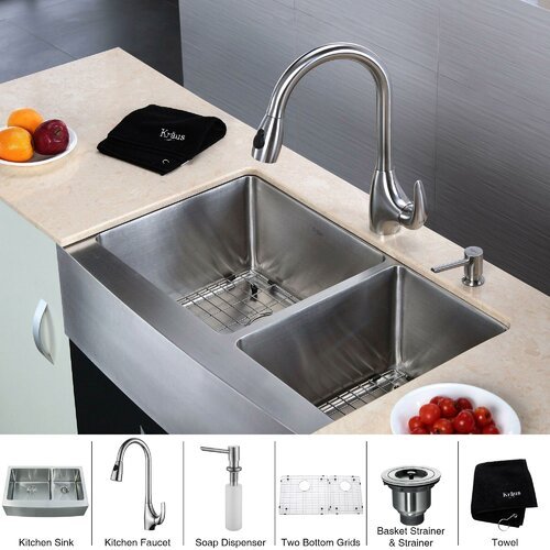 "Kraus 32.9"" x 20.75"" x 10"" Farmhouse Double Bowl Kitchen Sink with Faucet and Soap Dispenser"