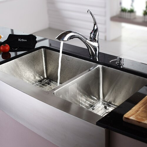 """Kraus 35.88"""" x 20.75"""" Farmhouse Double Bowl Kitchen Sink with Faucet and Soap Dispenser"""