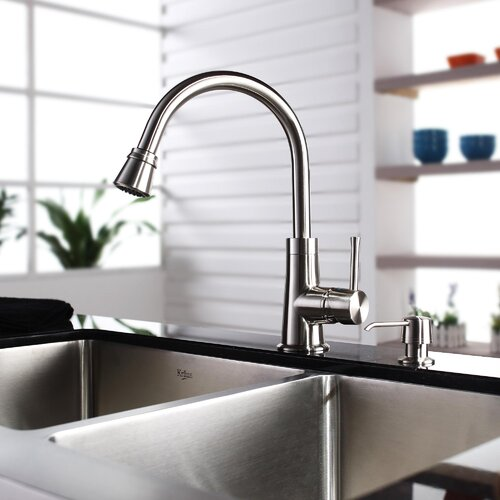 "Kraus 35.875"" x 20.75"" Farmhouse Double Bowl Kitchen Sink with Faucet and Soap Dispenser"
