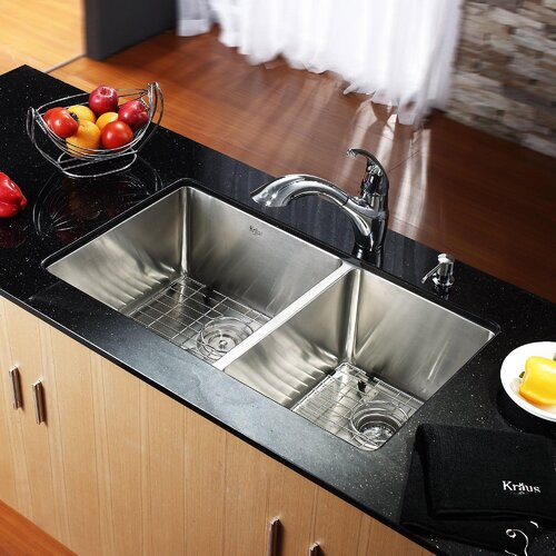"""Kraus 32.75"""" x 19"""" Undermount 50/50 Double Bowl Kitchen Sink with Faucet and Soap Dispenser"""