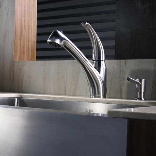 Kraus One Handle Single Hole Kitchen Faucet with Lever Handle and Soap Dispenser