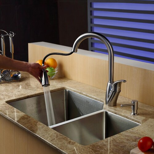 "Kraus 32"" x 20"" Double Bowl Undermount Kitchen Sink with Faucet and Soap Dispenser"