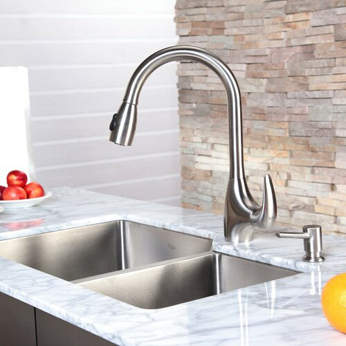 "Kraus 33"" x 20"" Undermount Double Bowl Kitchen Sink and Pull Out Kitchen Faucet with Soap Dispenser"
