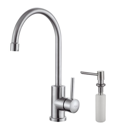 Single Handle Single Hole Kitchen Faucet with Lever Handle and Soap Dispenser