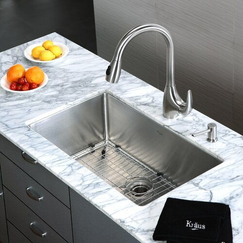 Kraus One Handle Single Hole Kitchen Faucet with Soap Dispenser and Pull-Out Spray