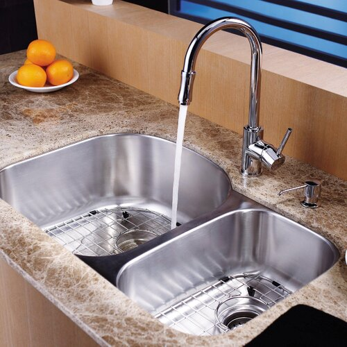 Kraus 8 Piece Undermount Double Bowl Kitchen Sink Set