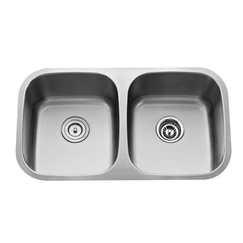 "Kraus 32.25"" x 18.5"" Contemporary Undermount Double Bowl Kitchen Sink with Faucet and Soap Dispenser"