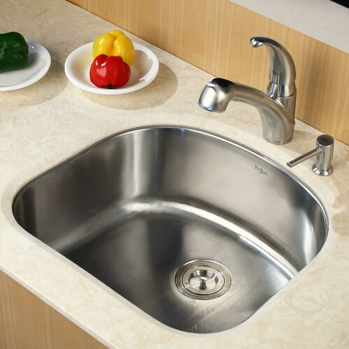 """Kraus 23.25"""" x 20.88"""" Undermount Single Bowl Kitchen Sink with Faucet and Soap Dispenser"""