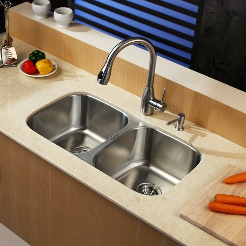 "Kraus 32.25"" x 18.5""  8 Piece Undermount Double Bowl Kitchen Sink Set"