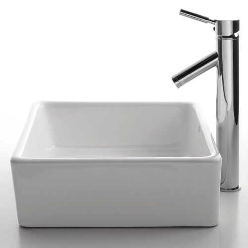 Kraus Ceramic Square Vessel Bathroom Sink and Sheven Faucet & Reviews ...