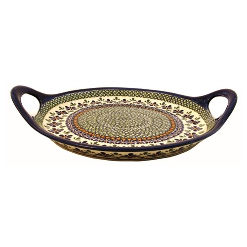 Euroquest Imports Polish Pottery Round Serving Tray with Handles
