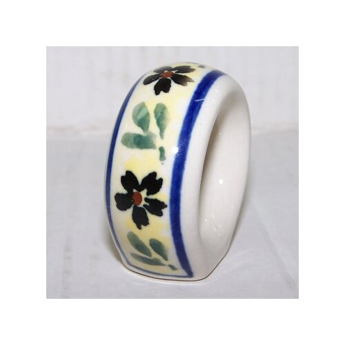 Euroquest Imports Polish Pottery Napkin Ring - Pattern 175A