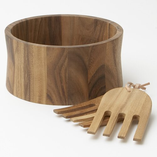 Woodard & Charles Acacia Tulip 3 Piece Salad Serving Set