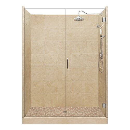 American Bath Factory Grand Pivot Door Single Threshold Shower Enclosure