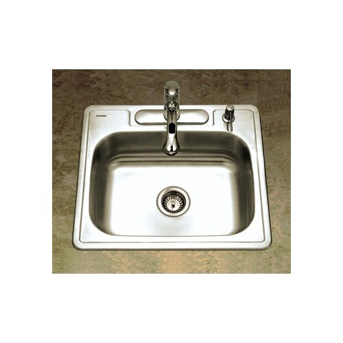"Ada Kitchen Sink: Glowtone ADA Compliant 25"" X 22"" Topmount Single Bowl 18"