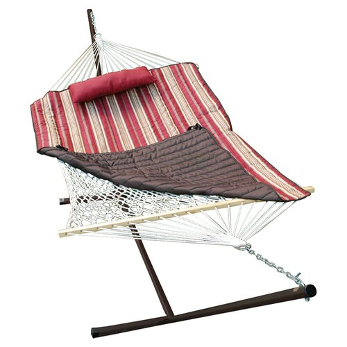 Algoma Net Company ColorCotton Rope Hammock with Stand, Pad and Pillow