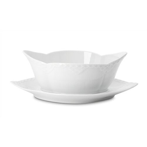 Royal Copenhagen White Half Lace 13.5 oz. Sauce Boat