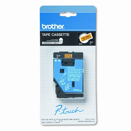 Brother TC7001 P-Touch Tape Cartridge for P-Touch Labelers, 1/2W