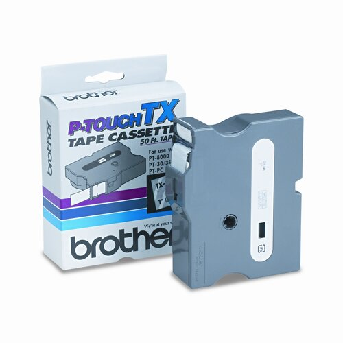 Brother TX1551 P-Touch® TAPE CARTRIDGE FOR PT-8000, PT-PC, PT-30/35, 1W, WHITE ON CLEAR